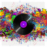 Colorful music background with vinyl Royalty Free Stock Photography