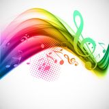 Colorful music background. Colorful wavy music background with notes and g-clef Royalty Free Stock Image