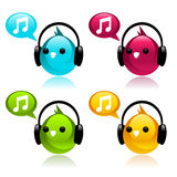 Colorful Music Birds Royalty Free Stock Photos