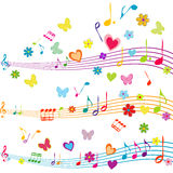 Colorful music design with stave, butterflies, hearts and flower Royalty Free Stock Photography