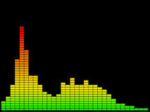 Colorful music equalizer. Isolated on black background. Digital Royalty Free Stock Image