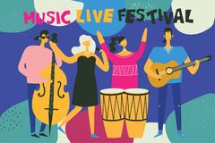 Music live festival vector background Royalty Free Stock Photo