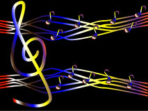 Colorful music in the form of treble clef and notes. On a black background Royalty Free Stock Image