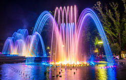 Colorful music fountains Stock Photo