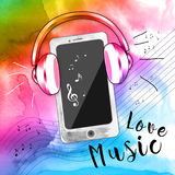 Colorful music love. Smart phone and headphones colorful Stock Image