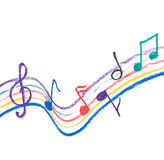 Colorful music notation drawing on white Royalty Free Stock Photo