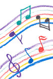 Colorful music notation drawing on white Stock Images