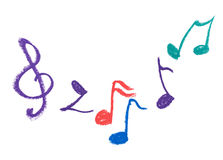 Colorful music notation drawing on white Stock Photography