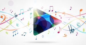 Colorful music notes background. Illustration of Colorful music notes background Stock Photography