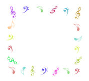 Colorful music notes frame. On white background Stock Images
