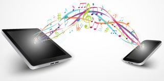 Colorful music notes out of smart phone Royalty Free Stock Images