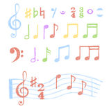 Colorful music notes set. Stock Photography