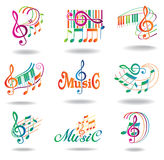 Colorful music notes. Set of music design elements Stock Photo