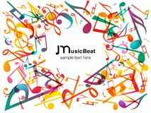 Colorful Music notes. Vector Illustration Abstract background. Stock Images