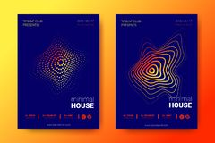 Colorful Music Placards with Wave Distorted Rounds. vector illustration