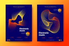 Colorful Music Placards with Wave Distorted Rounds. stock illustration