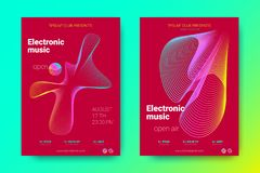 Colorful Music Placards with Waves and Distorted Rounds. Flyer of Electronic Music. Abstract Vector Background. Colorful Wave Lines and Equalizer. Minimal Music stock illustration