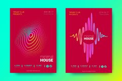 Colorful Music Placards with Waves and Distorted Rounds. Flyer of Electronic Music. Abstract Vector Background. Colorful Wave Lines and Equalizer. Minimal Music royalty free illustration