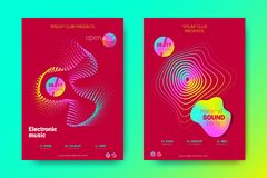 Colorful Music Placards with Waves and Distorted Rounds. Flyer of Electronic Music. Abstract Vector Background. Colorful Wave Lines and Equalizer. Minimal Music vector illustration