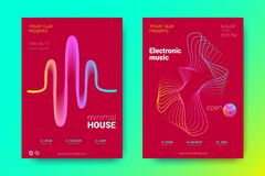 Colorful Music Placards with Waves and Distorted Rounds. Flyer of Electronic Music Night Party. Abstract Vector Background. Colorful Wave Lines and Equalizer stock illustration