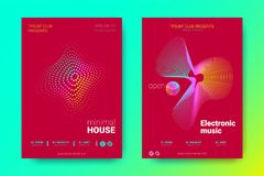 Colorful Music Placards with Waves and Distorted Rounds. Flyer of Electronic Music Night Party. Abstract Vector Background. Colorful Wave Lines and Equalizer vector illustration