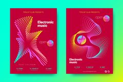 Colorful Music Placards with Waves and Distorted Rounds. Flyer of Electronic Music Night Party. Abstract Vector Background. Colorful Wave Lines and Equalizer royalty free illustration