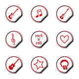 Colorful music stickers Royalty Free Stock Photo