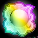 Colorful music swirl decorated frame label vector Stock Images