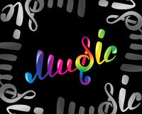 Colorful music vector logo on black. Colorful music logo on black, vector illustration for your design, EPS10 Stock Images