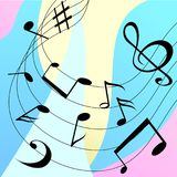 Colorful musical background with black notes. vector illustration