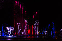 Colorful musical fountain Royalty Free Stock Photography