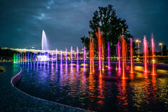 Colorful musical fountain in Warsaw Royalty Free Stock Image