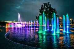 Colorful musical fountain in Warsaw Royalty Free Stock Images