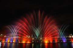 Colorful musical fountains Stock Photos