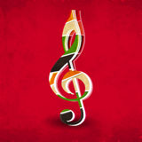 Colorful musical note on red background. Stock Photography
