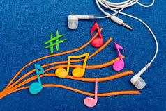 Colorful musical notes made of plasticine Stock Photo