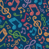 Colorful musical notes seamless pattern background. With hand drawn elements Stock Images