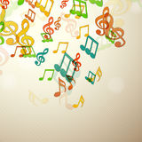 Colorful musical notes with seamless pattern. Royalty Free Stock Image