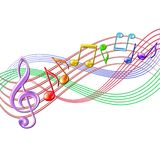 Colorful musical notes staff background on white. Stock Photos