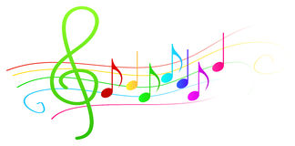 Colorful Musical Notes On Stave Royalty Free Stock Photos