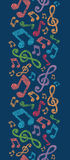 Colorful musical notes vertical seamless pattern Royalty Free Stock Photos