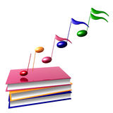 Colorful musical symphony notes and books. 3d illustration Stock Photos
