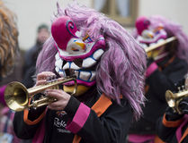 Colorful musician in a street parade Royalty Free Stock Image