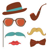 Colorful mustache party elements collection Stock Images