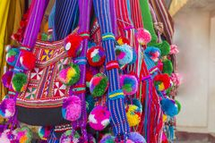 Free Colorful Myanmar Traditional Bags On Sale In Market Royalty Free Stock Image - 136189416