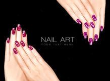 Colorful Nail Art. Crackle Nail Lacquer. Tattoo Stock Photos