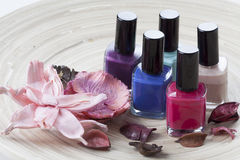 Colorful nail lacquer. On a wooden plateau Royalty Free Stock Photography