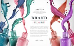 Colorful nail lacquer ads royalty free illustration