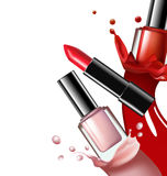 Colorful nail lacquer, nail polish splatterand red lipstick on white background, 3d illustration, vogue ads for design Royalty Free Stock Images