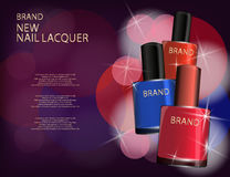 Colorful nail lacquer template, glossy bottles on the sparkling Royalty Free Stock Photo